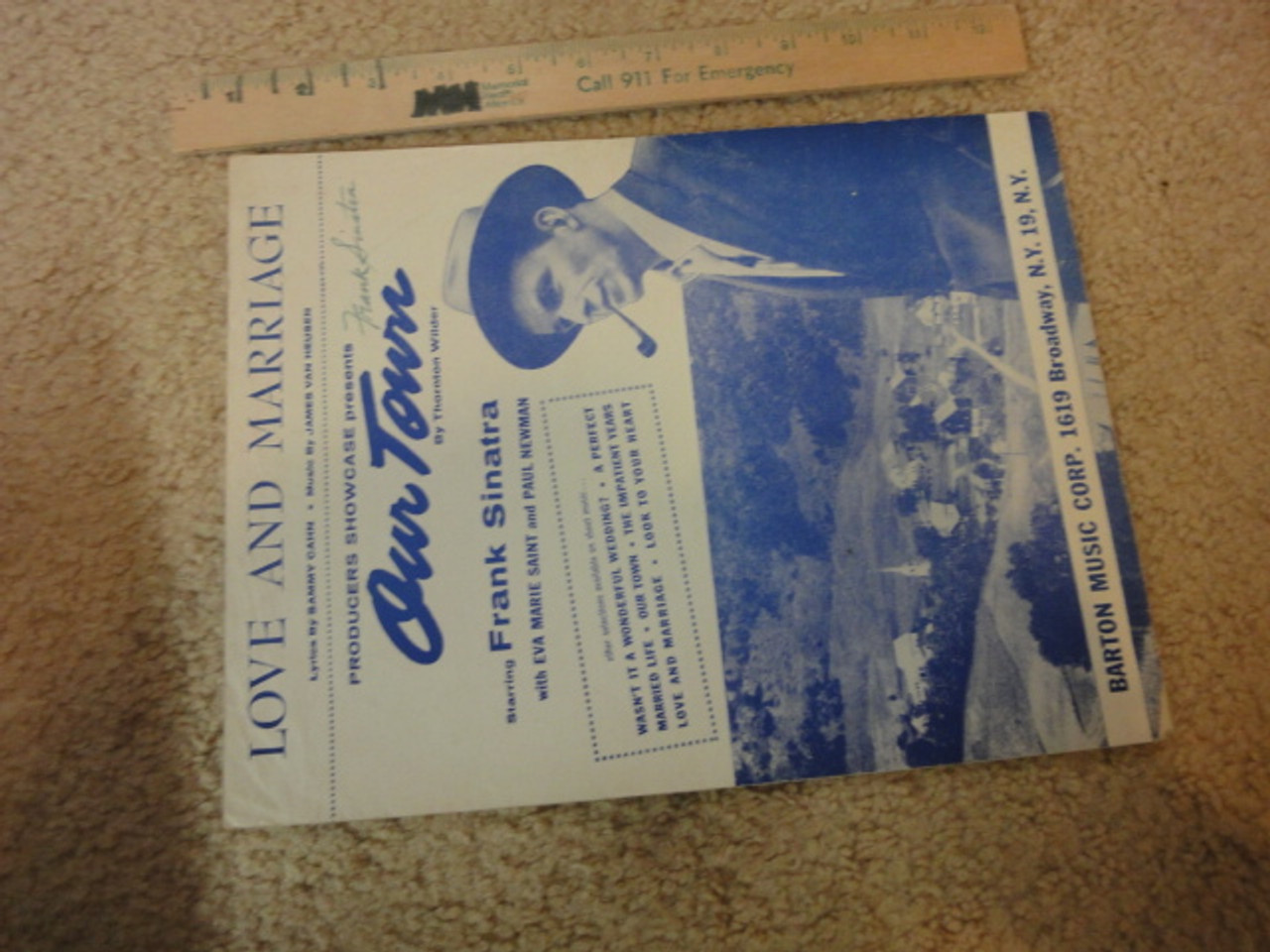 """Sinatra, Frank """"Love And Marriage"""" 1955 Sheet Music Signed Autograph """"Our Town"""""""