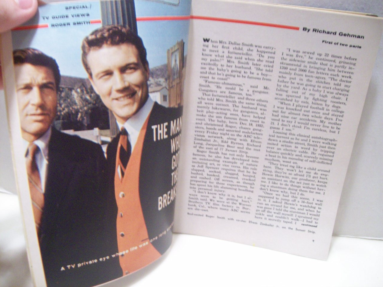 Smith, Roger TV Guide Signed Autograph 77 Sunset Strip April 1 1962