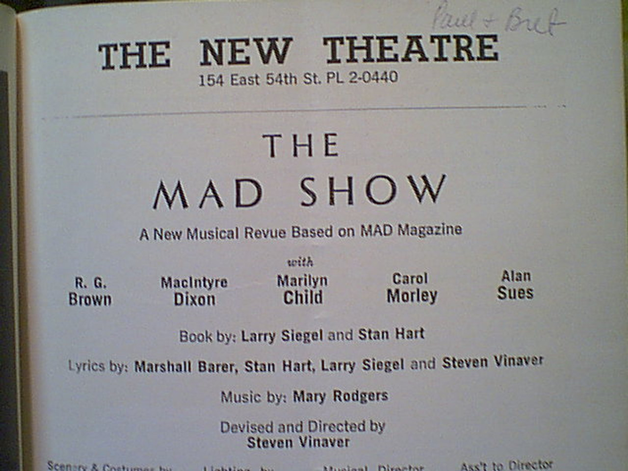 """Sues, Alan """"The Mad Show"""" 1967 Showcard theatre Program Signed Autograph"""