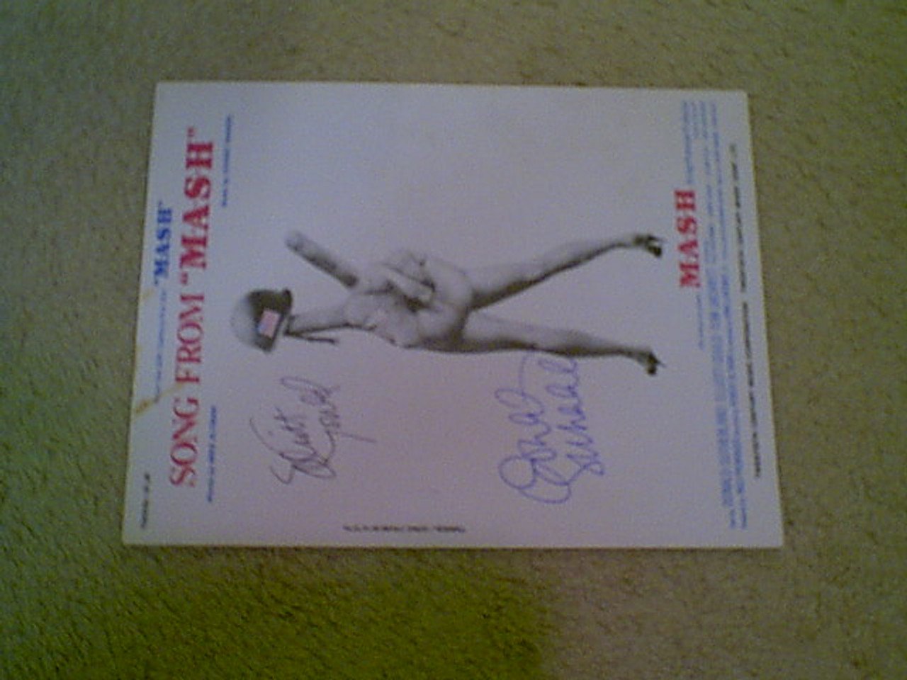 "Sutherland, Donald Elliott Gould ""M.A.S.H. Theme"" 1970 Sheet Music Signed Autograph"
