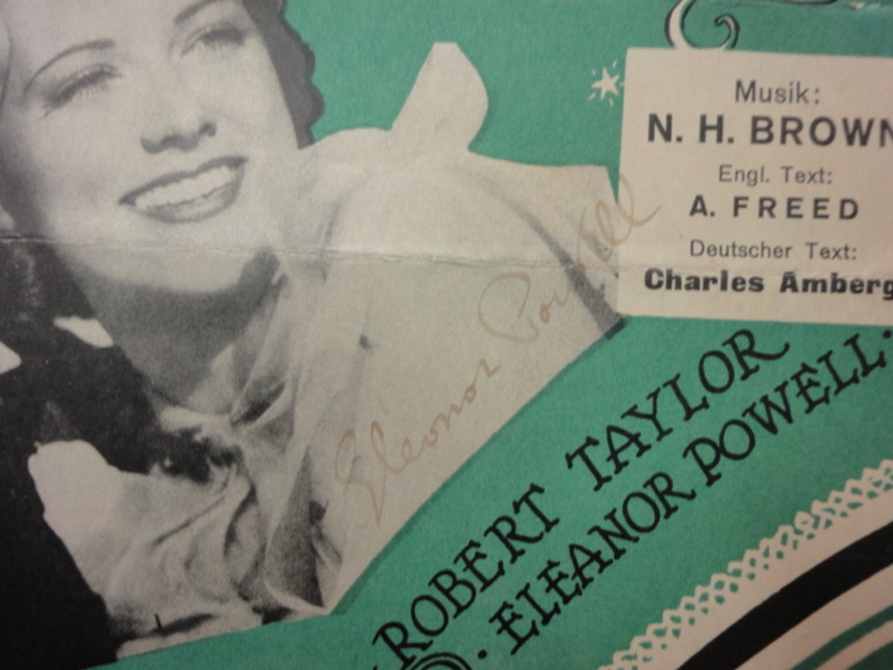 """Taylor, Robert and Eleanor Powell """"Broadway Melody of 1936"""" Sheet Music Signed Autograph 1935 Vintage Cover Photos """"You Are My Lucky Star"""""""