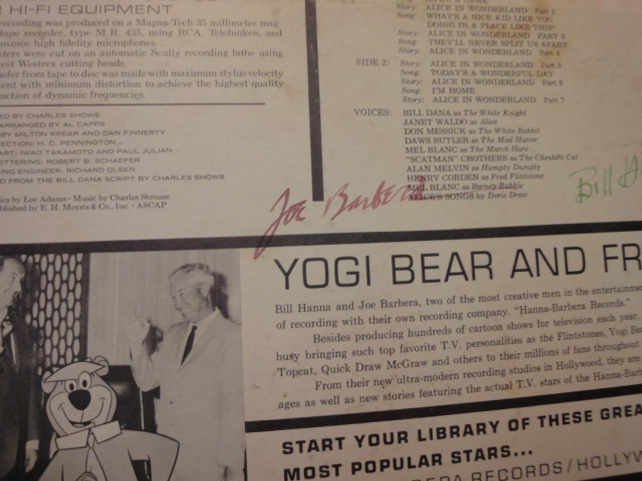 The New Alice In Wonderland Bill Hanna Joe Barbera 1966 LP Signed Autograph