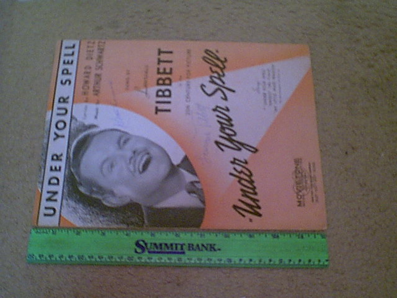 """Tibbett, Lawrence """"Under Your Spell"""" 1936 Sheet Music Signed Autograph Cover Photo"""