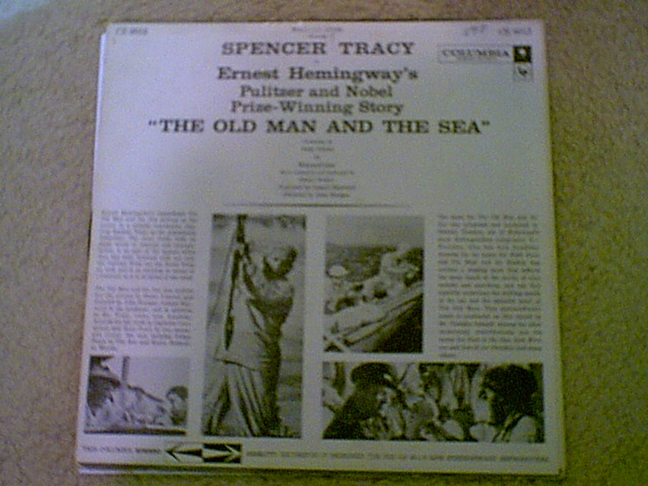 """Tracy, Spencer """"The Old Man And The Sea"""" 1958 LP Signed Autograph Photos"""