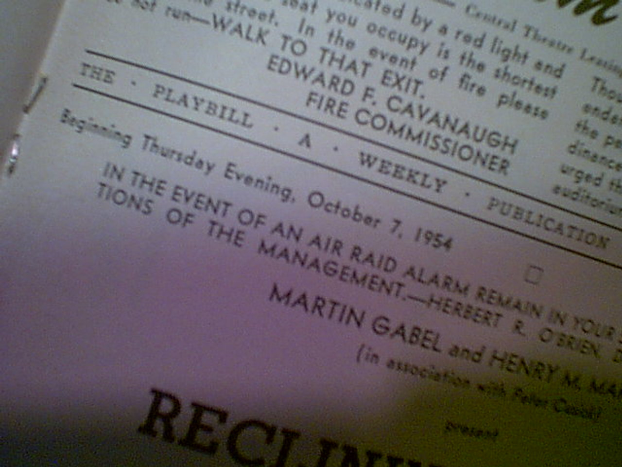 """Wallace, Mike 1954 Playbill """"Reclining Figure"""" Signed Autograph"""