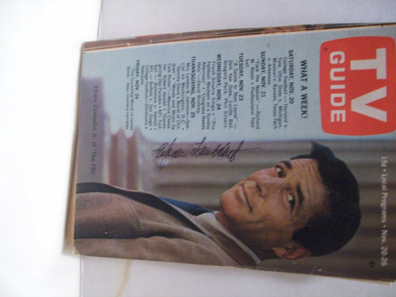 Zimbalist, Jr. Efrem TV Guide Signed Autograph The FBI 1965