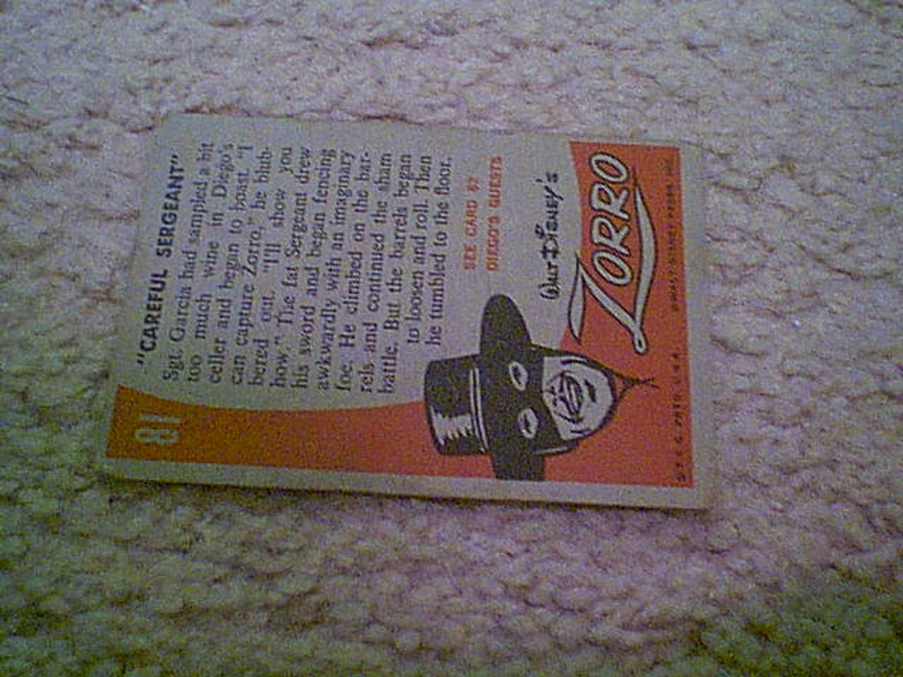 "Zorro Calvin, Henry ""Zorro"" Color Trading Card Signed Autograph Walt Disney Sergeant Garcia"