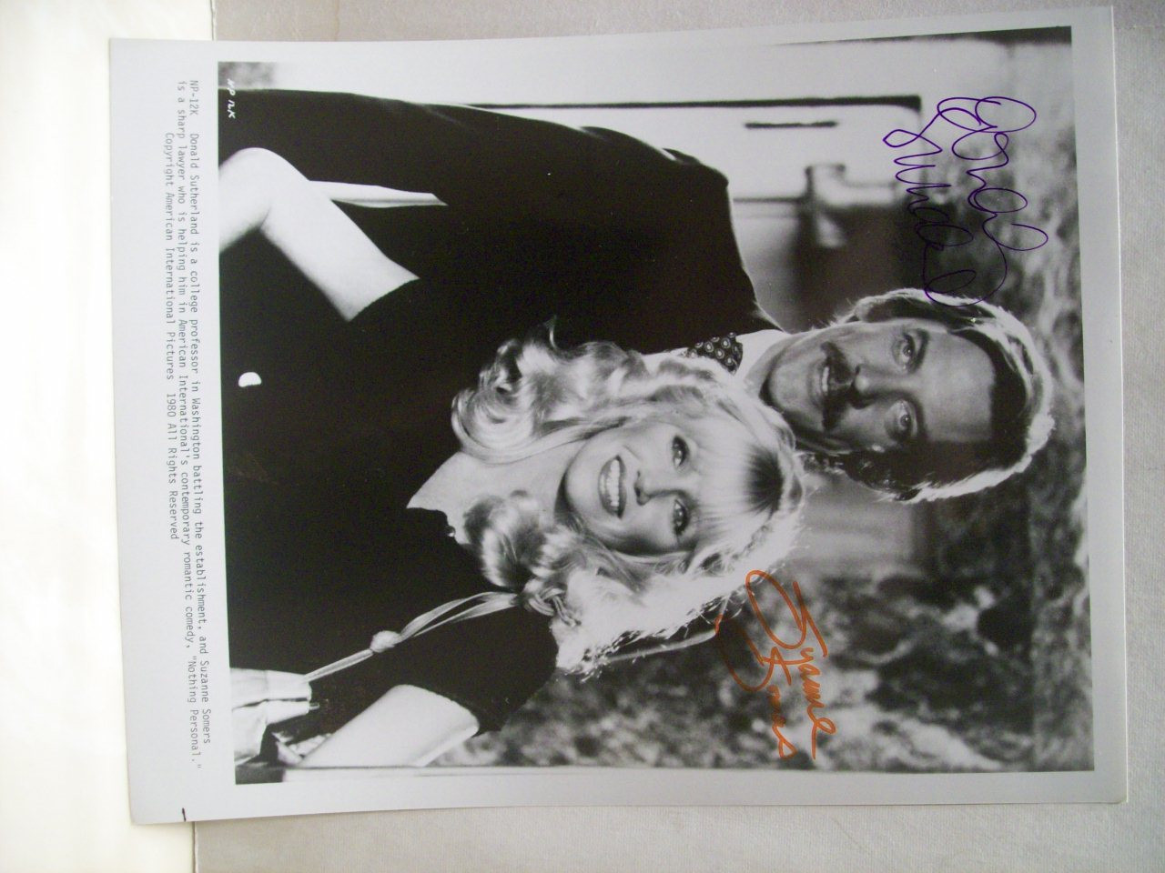 Sutherland, Donald Suzanne Somers Photo Signed Autograph Nothing Personal