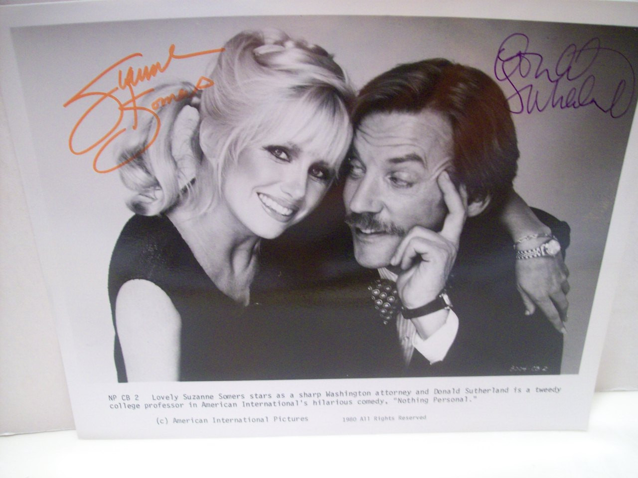 Sutherland, Donald Suzanne Somers Signed Autograph Nothing Personal 1980