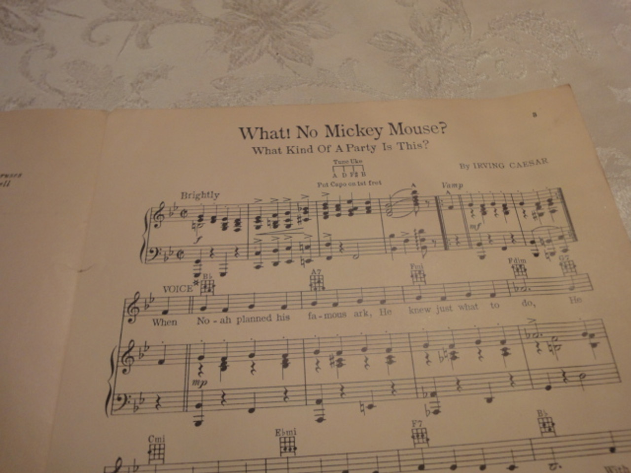 """Walt Disney Mickey Mouse Signed Autograph Sheet Music """"What! No Mickey Mouse? What Kind Of A Party Is This"""""""