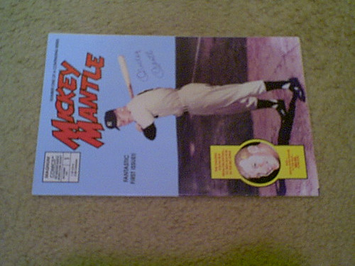 """Mantle, Mickey 1991 """"The Mickey Mantle Story"""" Comic Color Signed Autograph"""