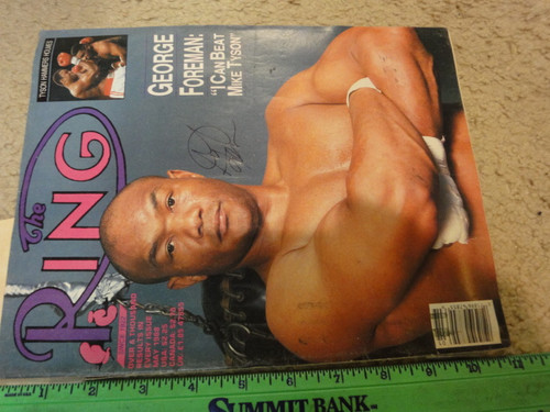 """Foreman, George """"The Ring"""" Boxing Magazine 1988 Signed Autograph Color Cover Photo"""