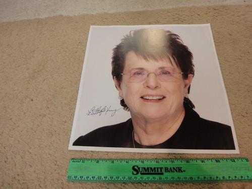 King, Billie Jean Color Photo Signed Autograph Tennis