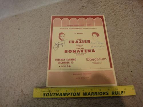 Frazier, Joe and Oscar Bonavena Souvenir Boxing Program 1968 Signed Autograph Photos