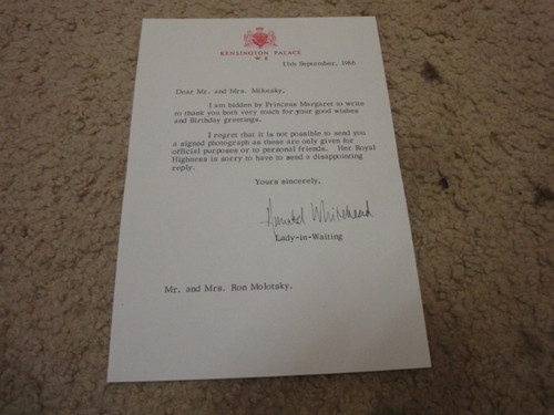 Whitehead, Annabel Lady-In-Waiting Princess Margaret Great Britain 1986 Letter Signed Autograph