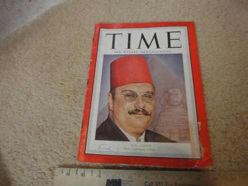 King Farouk Time Magazine 1951 Signed Autograph Egypt