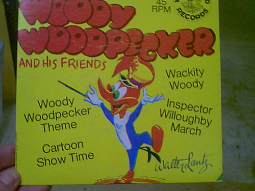 Lantz, Walter Woody Woodpecker & Friend 45 RPM Record With Picture Cover Signed Autograph Theme