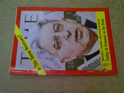 Burns, Arthur Time Magazine 1970 Signed Autograph Economist