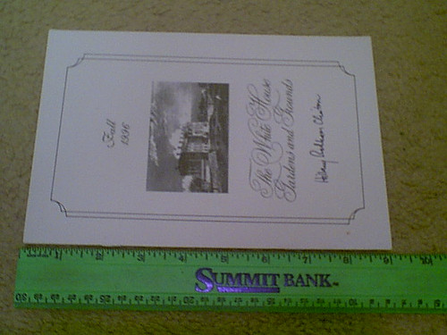 """Clinton, Hillary 1996 """"White House Gardens & Grounds"""" Brochure Signed Autograph"""