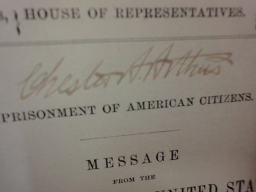 """Arthur, Chester President """"Congressional Message From The President Of The United States"""" 1884 Signed Autograph"""