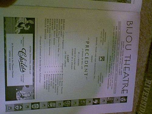 Golden, I.J. Program Signed Autograph Precedent Bijou Theatre July 20 1931