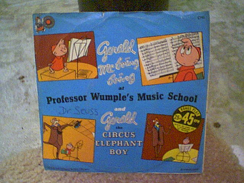 """Dr. Seuss """"Gerald Mc Boing Boing"""" 1956 45 RPM Record With Picture Sleeve Signed Autograph Cartoon"""