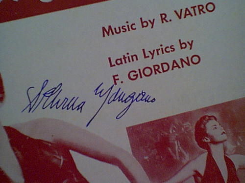 Mangano, Silvana Sheet Music Signed Autograph Anna 1952