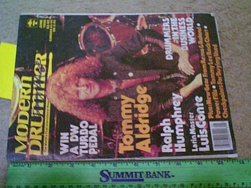 "Aldridge, Tommy Black Oak Arkansas ""Modern Drummer"" Magazine 1988 Signed Autograph Cover Photo"
