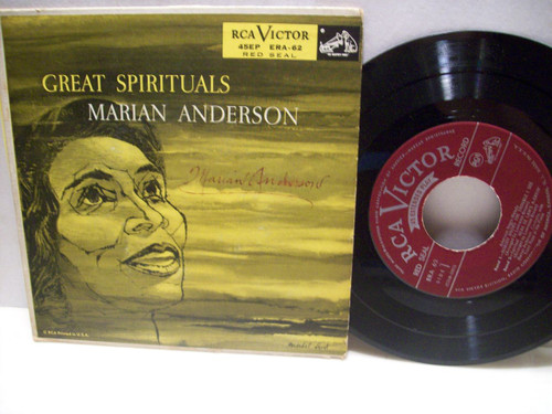 Anderson, Marian 45 Ep Picture Cover Signed Autograph Rca Red Seal Great Spirituals