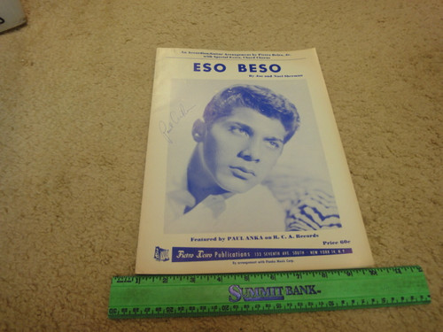 """Anka , Paul """"Eso Beso"""" 1962 Sheet Music Signed Autograph Cover Photo"""