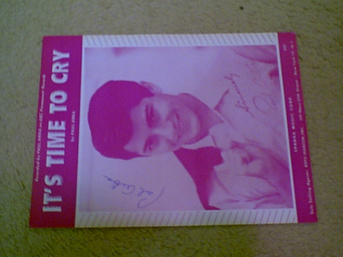 """Anka, Paul """"It'S Time To Cry"""" 1959 Sheet Music Signed Autograph Photo"""