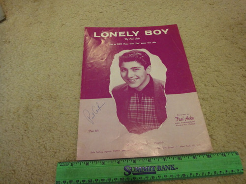 """Anka, Paul """"Lonely Boy"""" 1958 Sheet Music Signed Autograph Early Cover Photo"""