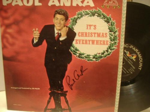 Anka, Paul LP Signed Autograph It'S Christmas Everywhere Pop Teen Idol 1960