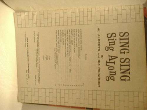 Alberts, Al Songbook Signed Autograph Bix Reichner Sing Sing Sing Along 1962