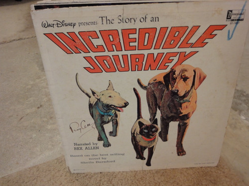 """Allen, Rex """"The Story Of An Incredible Journey"""" 1963 Disney LP Signed Autograph"""