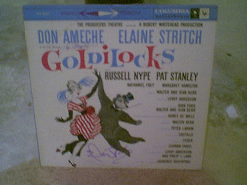 """Ameche, Don & Elaine Stritch """"Goldilocks"""" 1958 LP Signed Autograph Original Cast"""
