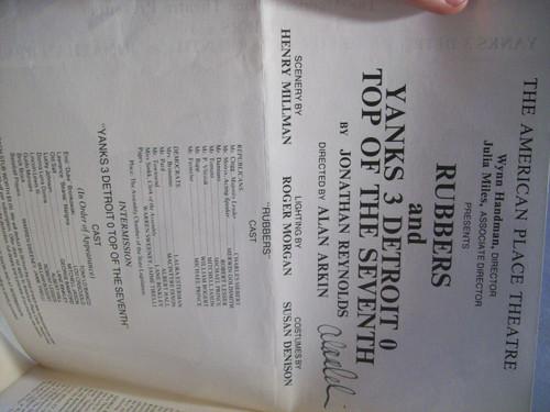 Arkin, Alan Program Signed Autograph Rubbers Yanks 3 Detroit 0 Top Of The Seventh 1974