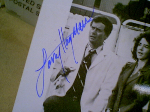 """Hagman, Larry Stockard Channing 1976 Photo """"The Big Bus"""" Signed Autograph"""