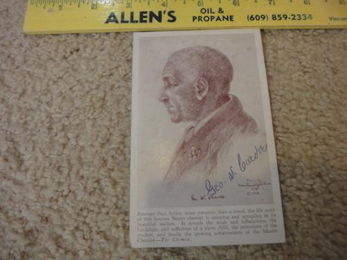 George Washington Carver Portrait Postcard Signed Autograph
