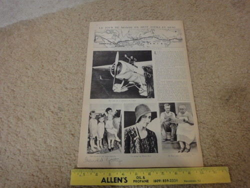 Harold Gatty and Wiley Post Aviators Vintage Magazine Signed Autograph