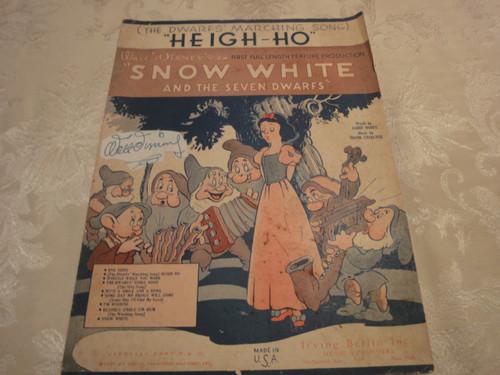 "Walt Disney ""Snow White And Seven Dwarfs"" Sheet Music Signed Autograph ""Heigh-Ho"""