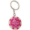 Metal Keychain designed to resemble a Las Vegas Hot Pink $1,000 Poker Chip.