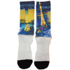 White sock with black toe and heel. Paris and the Bellagio Fountains are featured in color on the calf portion of the sock.