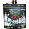 Metal Flask with Black and Gray Las Vegas Skyline Design and has a colorful Vegas Welcome Sign on it in the middle.
