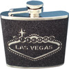 Metal Flask with a Black Glitter wrap around textured feel. The Las Vegas Welcome Sign is etched out as the design on the front.