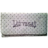White Wallet with shiny specks all over it and a large Silver embroidered Las Vegas on the front.