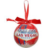 Ball Ornament with a Red Color , white snowflakes, and Las Vegas Sign design.