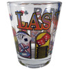 Glass Las Vegas shotglass with a multi colorful design all around it showing different Las Vegas icons like dice, cards, poker chips, etc.