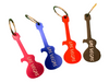 Pink, Blue, Red, Black color choices of the Guitar Shape LV souvenir Keychain that doubles as a bottle opener.