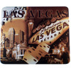 Las Vegas Strip and Icons Design on this Brown Background Computer Mousepad.